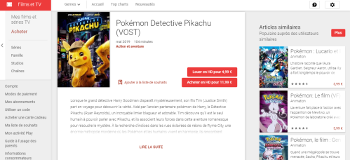 Film Detective Pikachu Google Play VOST